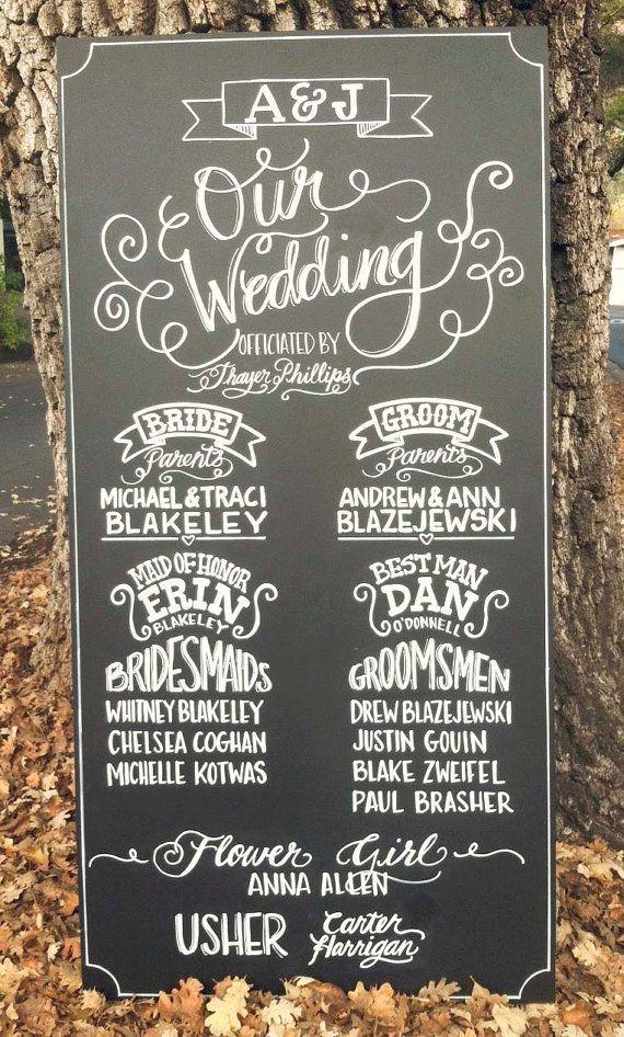 Chalkboard Sign Wedding Custom Made Ceremony Program Hand Drawn
