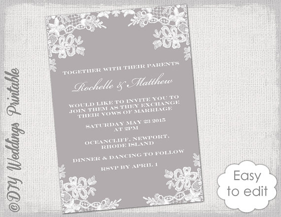 Wedding Invitation Template Diy Fl Lace Invitations Printable Mercury Gray Invites You Edit Word Digital