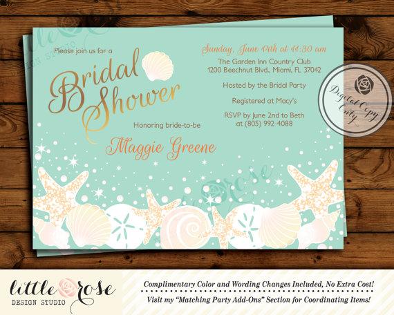 Beach Bridal Shower Invitation Wedding Invite Seashells Starfish Under The Sea Baby Birthday Printable File