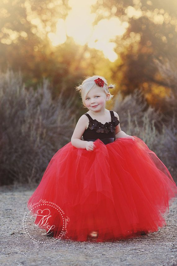 Excellent Flower Girl Dress Red, Red And Black Flower Girl Dress, Long Tutu  AF43