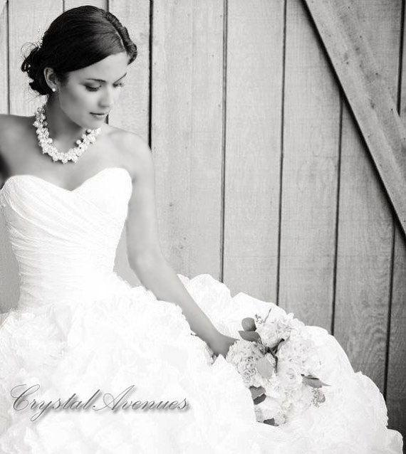 Bridal Necklace Chunky Pearl Wedding Jewelry Rhinestone Swarovski Pearls Crystals Lillian