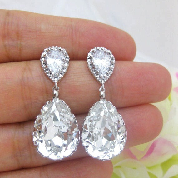 Swarovski Crystal Teardrop Earrings Wedding Jewelry Bridesmaid Gift Bridal E008