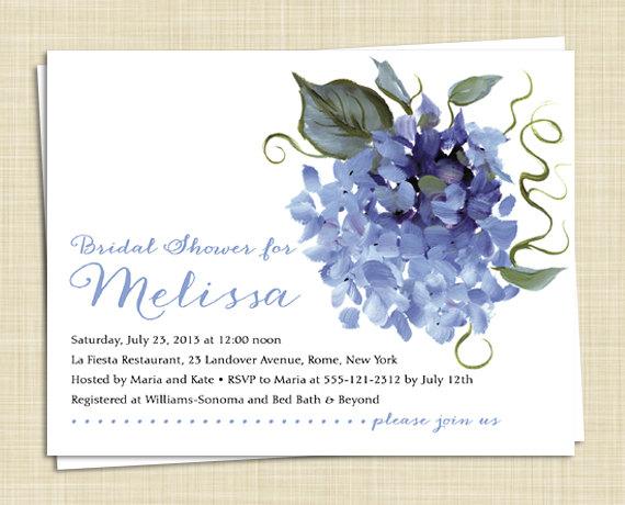 Top Hydrangea Bridal Shower Invitations / Set Of 20 / 5 Colors  AB76