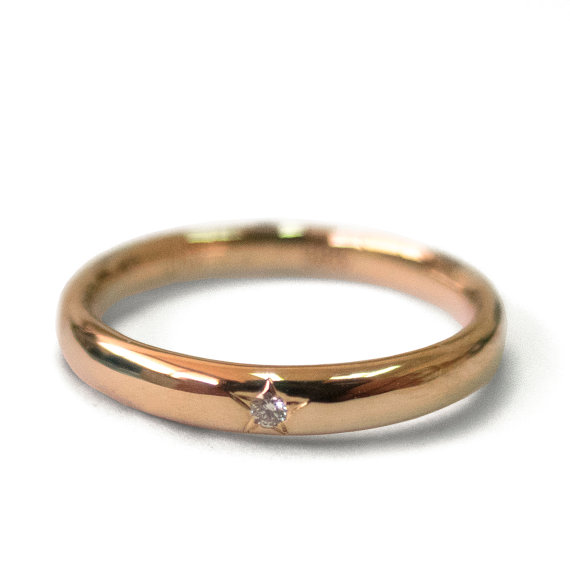 Diamond Band Engagement Ring 18k Rose Gold And Wedding Star