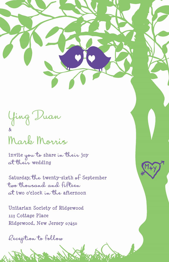 Love Bird Wedding Invitations Purple And Green Tree Invitation Birds In A Rush Custom Listing For Yingyduan