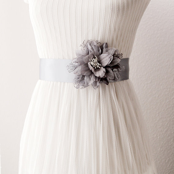 Bridal Couture Silver Grey Lace Flower Ribbon Sash Belt Wedding Dress Sashes Belts Posh Double Sided Metal Gray Charcoal