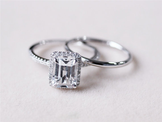 White Topaz Wedding Set VS 6x8mm White Topaz Ring W Matching Band