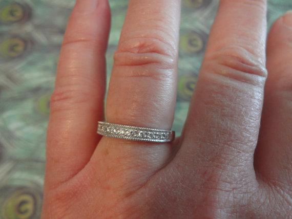 Silver Ring Cz Diamond Wedding Band Sterling 925 Engagement Bride Groom Size 8 Rhinestone Crystals Birthday Anniversary
