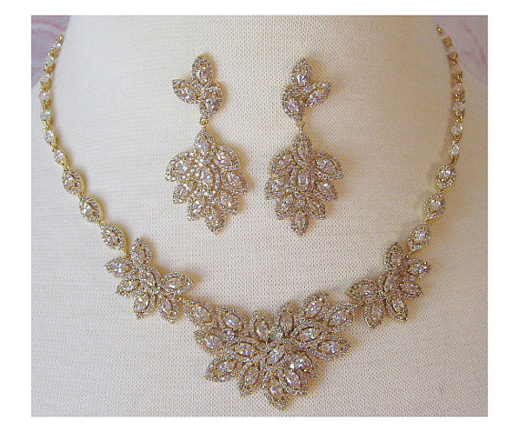Swarovski Crystal Necklace And Earrings Bridal Set Vintage Style Choker Wedding Jewelry Silver Gold Nina