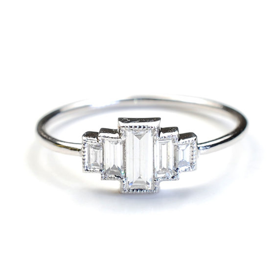 Diamond Engagement Ring Baguette Diamonds And White Gold Vintage Art Deco Style Nixin