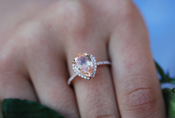 Peach Shire Engagement Ring 14k Rose Gold 2ct Pear Cut