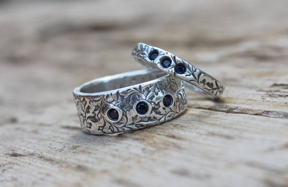 Shire Wedding Ring Eternity Band Set Engraved Fair Trade Rings Orions Belt Recycled Silver By Peacesofindigo