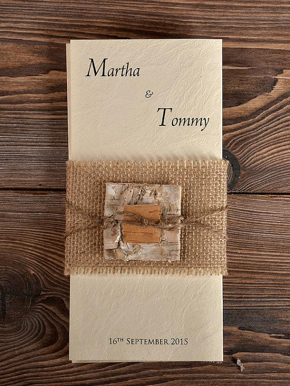 Custom Listing 100 Birch Bark Burlap Wedding Invitation Country Style Invitations Rustic Card