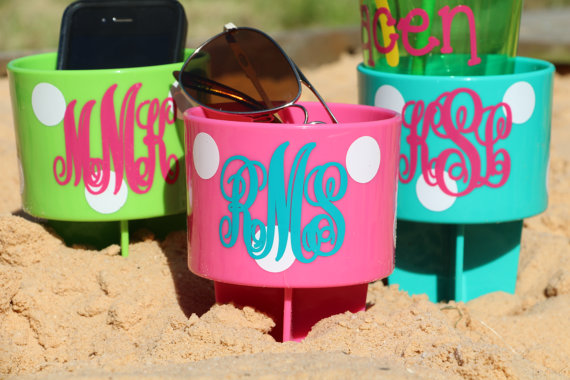 Personalized Beach Spiker Drink Holder Cup Bridesmaid Gift