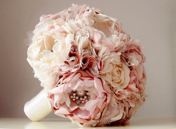New Fabric Flower Bouquet Brooch Vintage Style Wedding Handmade Bridal Weddings Dusty Rose Pink