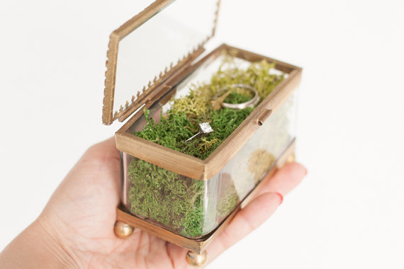 Ring Bearer Box Wedding Unique Proposal Engagement Gl Moss Holder