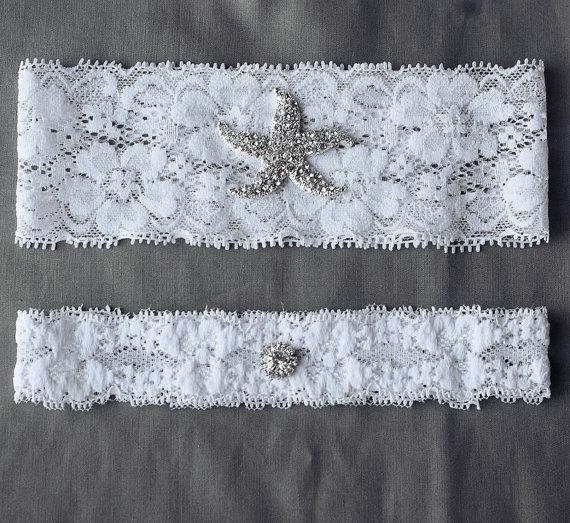 Wedding Garter Bridal Set White Or Ivory Lace Belt Rhinestone Crystal Starfish Beach Gr060lx