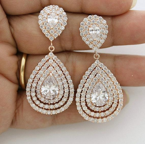 Wedding Rose Gold Earrings Teardrop Layered Bridal Jewelry Crystal Cubic Zirconia
