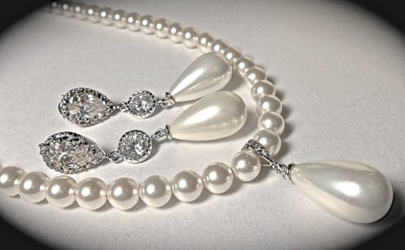 Pearl Necklace And Earrings Set Long Drop Swarovski Pearls Best Er Brides Jewelry Wedding
