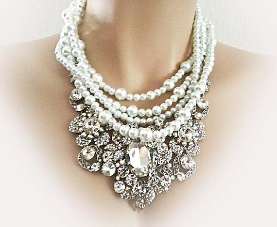 Pearl Rhinestone Bridal Jewelry Set Necklace Earrings Wedding Jewellery In Vintage Chunky Style
