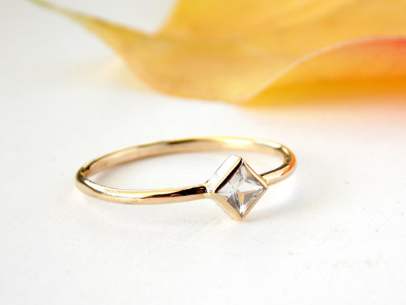 Princess Cut Engagement Ring 14K Solid Gold Ring White Topaz