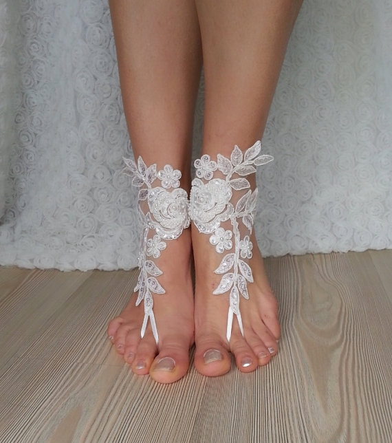 9c4bff3d0 Ivory Barefoot French Lace Sandals Wedding Anklet Beach