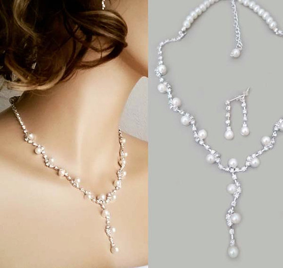 Wedding Jewelry Set Pearl Bridal Necklace Earrings Rhinestone Bridesmaids Gift