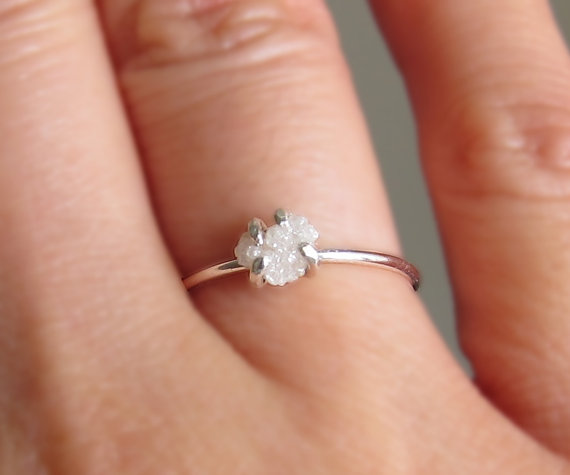 White Raw Diamond Ring Sterling Silver Uncut Rough Engagement Promise April Birthstone