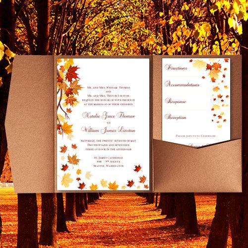 Pocket Fold Wedding Invitations Falling Leaves Fall Autumn Or Thanksgiving Printable Templates Make Your Own You Print