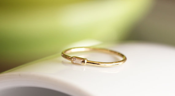 14K Solid Gold Thin Band With Baguette Diamond Simple Diamond
