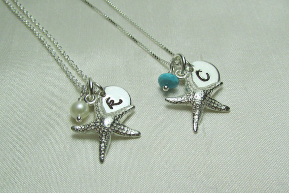 Bridesmaid Gift Set Of 6 Beach Wedding Jewelry Starfish Necklace Personalized Bridesmaids