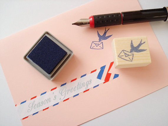 Swallow With Letter Bird Stamp Rubber Elegant Wedding Invitation Antique Stayle Card Making Supplies Kawaii