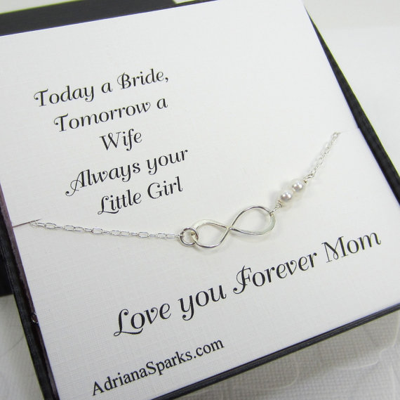Mother Of The Bride Gift Infinity Personalized Bracelet With Thank You Card Infinty Mom Bridal Jewelry