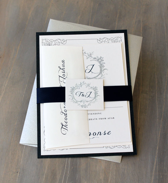 Navy Monogram Wedding Invitations Modern Elegant Silver Clic Love Sample