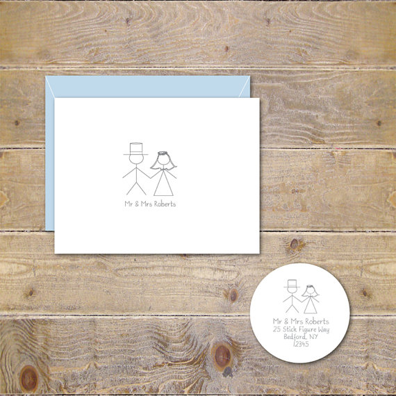 Wedding Thank You Cards Personalized Stick Figure Whimsical Figures Bridal Shower Mr Mrs