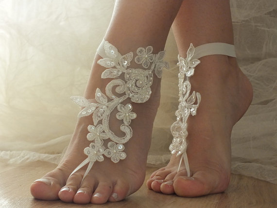 Ivory Beach Wedding Barefoot Sandals Shoes Prom Party Steampunk Bangle Anklets Bangles Bridal Bride Bridesmaid