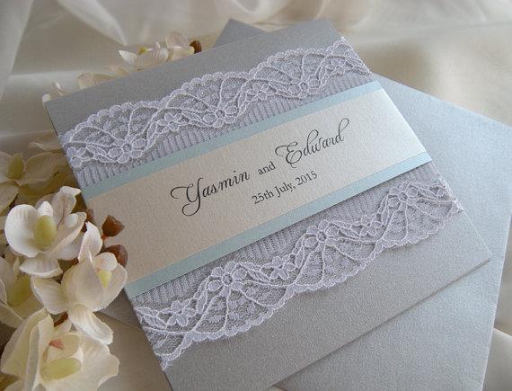 Wedding Invitation Lace Grey Invitations Dusty Blue