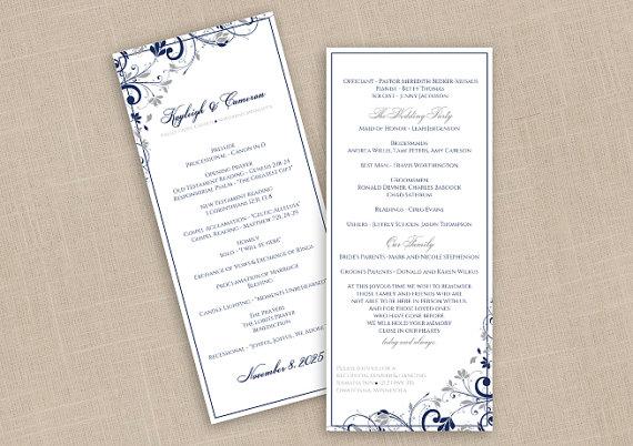 Diy Wedding Program Instantly Editable Text Chic Bouquet Navy Blue Silver Tea Length 4 X 9 25 Microsoft Word Format