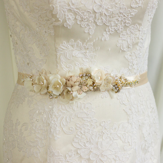 Bridal Belt Sash Wedding Champagne Gold Fl Dress Narrow