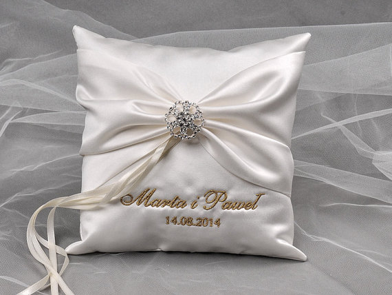 Lace Wedding Pillow Ring Bearer Embroidery Names Peach Satin Grey Ribbon