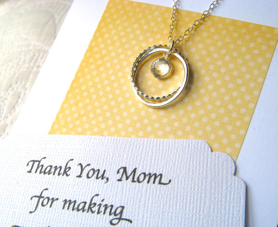 Mother Of The Bride Gift With Poem Card Necklace Sterling Silver Mom Jewelry Wedding Thank You
