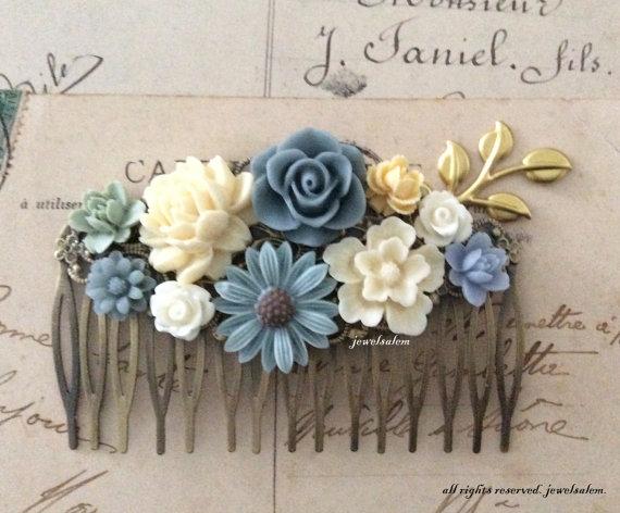 Blue Wedding Hair Accessories Gray Ivory Cream Sage Green White Bridal Comb Woodland Flowers Branch Gold Leaf Fl Headpiece Wr