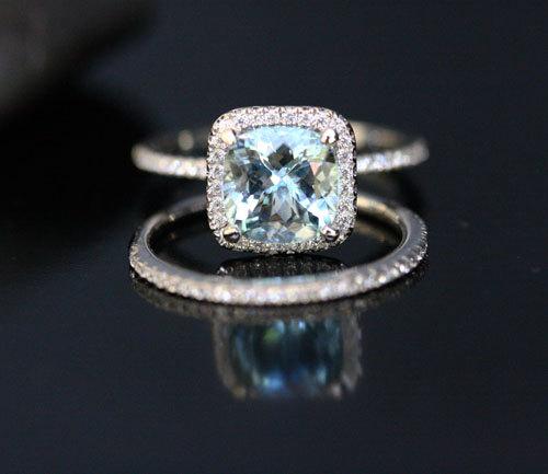 Superb Aquamarine Engagement Ring And Diamond Wedding Set With Cushion 8mm Bridal In 14k White Gold