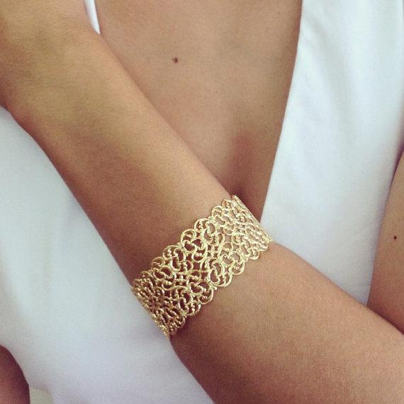 Filigree Bracelet Gold Cuff Lace Bridal Band Bridesmaids Gift Wedding