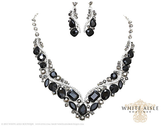 Black Wedding Jewelry Set Crystal Bridal Statement Necklace Earrings Vintage Style