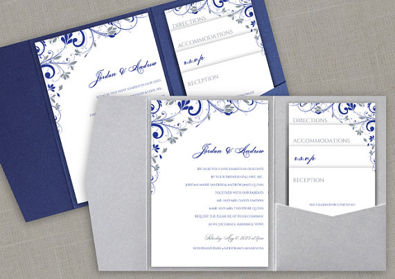 Pocket Wedding Invitation Printable Set Instant Editable Text Chic Bouquet Royal Blue Silver Microsoft Word Format