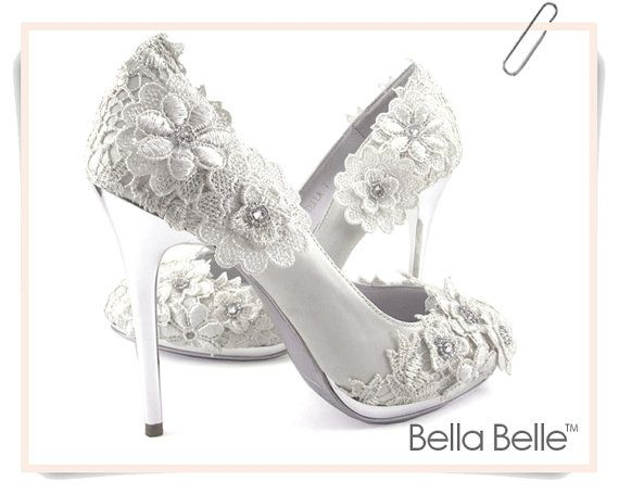 Ivory Vintage Lace Wedding Shoes With Crochet Flower Lique Satin Bridal Pumps Silver