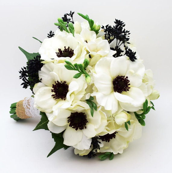 Reserved White Anemone Black Center Wedding Bouquet Silk Hydrangea Groom Boutonniere Bridesmaid Corsages Cake Topper