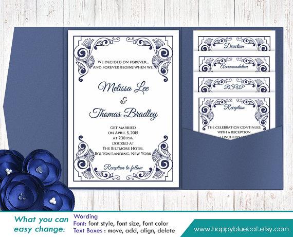 Diy Printable Pocket Wedding Invitation Template Set Instant Editable Text Vintage Blue Navy Microsoft Word Format H11n