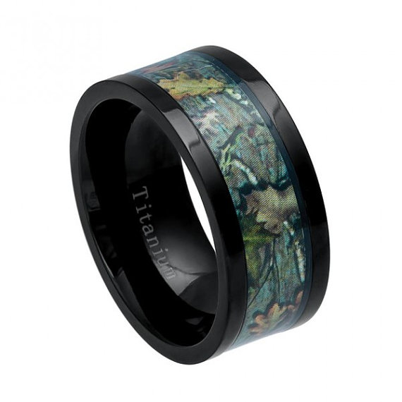 Cool Mens Gift Anium Ring Wedding Camo Inlay Jewelry Band Engagement
